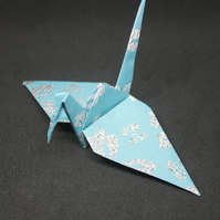 20 Origami Crane Wedding Favours with Aqua and a Silver Grey Flower Design