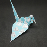 20 Origami Crane Wedding Favours with Aqua and a Silver Grey Love Heart Design