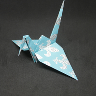 20 Origami Crane Wedding Favours with Aqua and Silver Grey Fleur de Lis Design