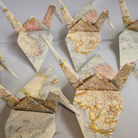 20 Origami Cranes, Vintage World Map, Bird