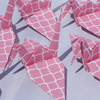 20 Origami Crane with a Pink Geometric Design, Wedding Favour, Baby, Favor, Bird