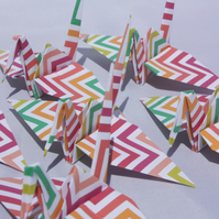 20 Origami Crane with a Bright Colour ZigZag Design, Wedding Favour, Baby