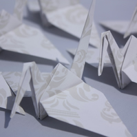 20 Origami Crane with a Traditional Damask Design, Wedding Favour, Favor, Bird