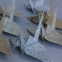 20 Origami Crane with a Vintage Newspaper Design, Wedding Favour, Baby