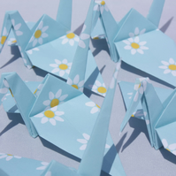 20 Blue Origami Cranes with a White Daisy Design, Wedding Favour, Baby