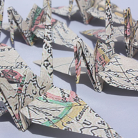 20 Blue Origami Cranes with a Vintage South America Map Design,Wedding Favour,