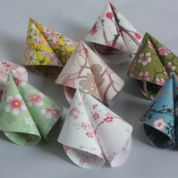 6 Origami Fortune Cookies with a Mix of Japanese Inspired Floral Prints