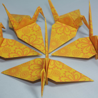 20 Origami Cranes, Bright Yellow Indian Style Flower Design, India, Floral,