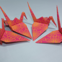 20 Origami Cranes, Bright Pink Indian Style Flower Design, India, Floral,