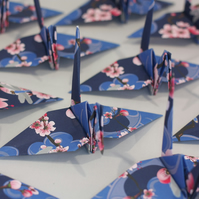 20 Origami Crane with a Pink Cherry Blossom and Navy Blue Design
