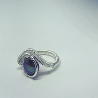 Asymetric mother of pearl ring