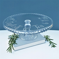 Personalised Glass Cake Stand, hand engraved for any occasion