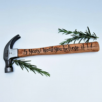 Personalised Hammer - 5th Wedding Anniversary Gift - pyrographed by hand
