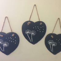 Hanging Heart Slate Dandelion Wish