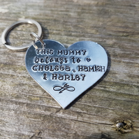 Personalised heart shaped mummy nana keyring