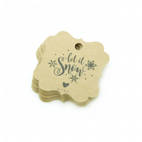 Let it Snow, 5.2cm Bracket Tags, Christmas Gift Tags, Let it Snow Tags XM545