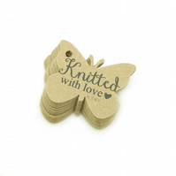 Knitted with Love, 3.6cm Butterfly Tags, Knitting Tags, Packaging Labels KN312