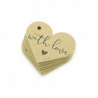 "With Love, 1.6"" Love Heart Tags, With Love Tags, Gift Tags, Packaging Tags WL112"