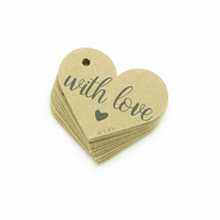 "With Love, 1.6"" Heart Tags, With Love Gift Tags, Rustic Packaging Tags WL290"