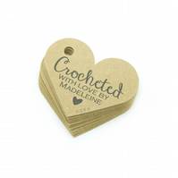 Crocheted with Love, 6.2cm Personalised Tags, Crochet Tags, Packaging Tags CR568