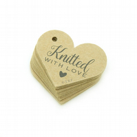 "Knitted with Love, 1.6"" Heart Tags, Knitting Gift Tags, Packaging Tags KN374"