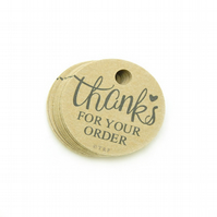 "Thanks for Your Order, 1.5"" Round Tags, Product Packaging Tags, Gift Tags TK448"