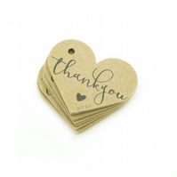 "Thank You, 1.6"" Heart Tags, Wedding Favour Tags, Thank You Gift Tags TY592"