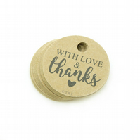 "With Love & Thanks, 1.5"" Round Tags, Rustic Favour Tags, Packaging Tags WK275"