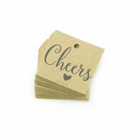 "Cheers, 1.25"" Square Tags, Rustic Wedding Favour Tags, Cheers Gift Tags CH136"