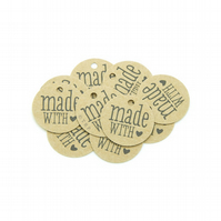 "Made with Love, 1"" Round Tags, Made with Love Tags, Round Mini Gift Tags ML512"
