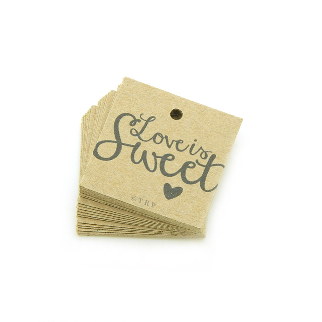 "Love is Sweet, 1.25"" Square Tags, Favour Tags, Valentines Day Gift Tags LS503"