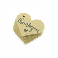 "Thank You, 1.6"" Heart Tags, Thank You Gift Tags, Rustic Packaging Tags TY499"