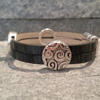 Faux Leather Celtic Slider Bracelet