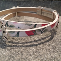 Faux Leather Floral Slider Bracelet