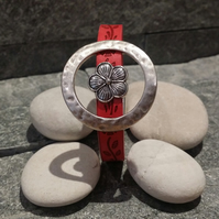 Faux Leather Red Watchflower Bracelet