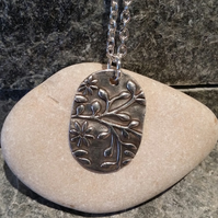 Silver Clay Oval Flower Pendant