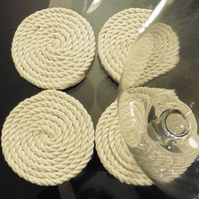 Set of 4 large handmade rope coasters
