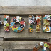 Custom upcycled bottletops sign (HOME) - small