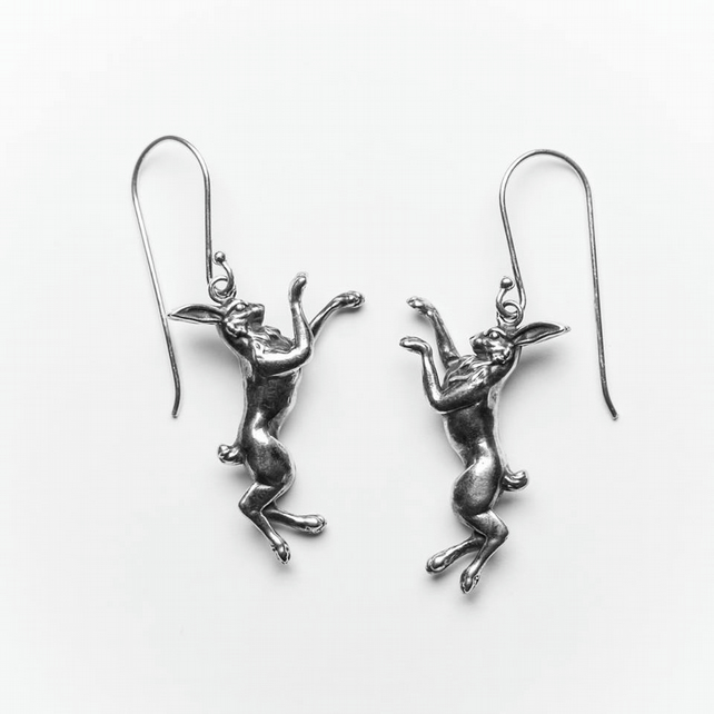 Handmade Sterling Silver Boxing Hares Earrings London Hallmarked
