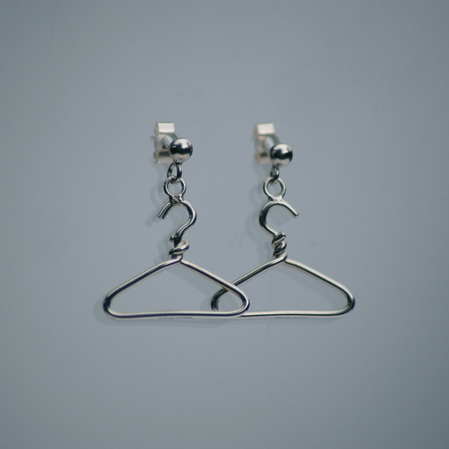 Handmade Sterling Silver Coat Hanger Earrings London Hallmarked