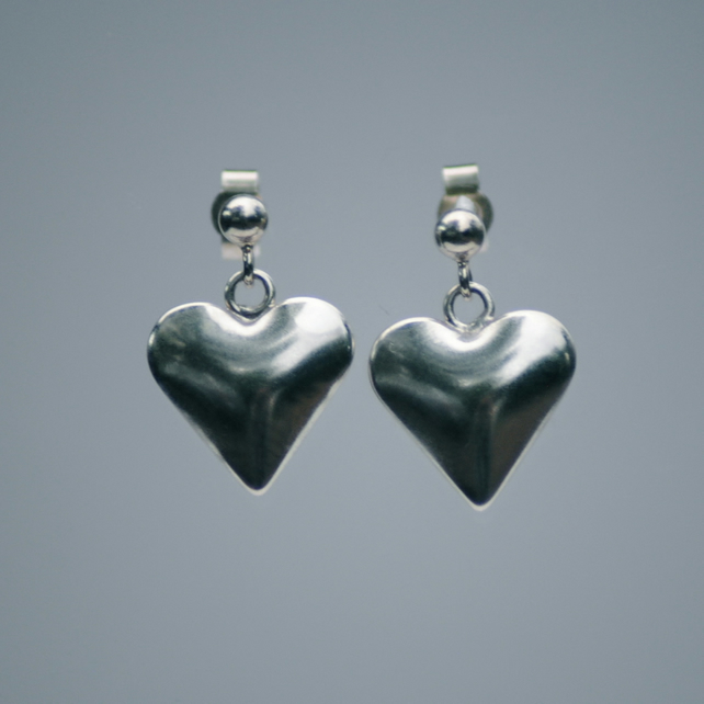 Handmade Sterling Silver Heart Earring London Hallmarked