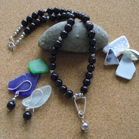 Blue Goldstone Necklace and Earring set