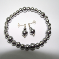 Silver Haematite earrings and stretchy bracelet set