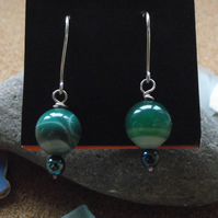 Green agate and haematite earrings