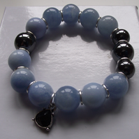Blue chalcedony and haematite stretchy bracelet
