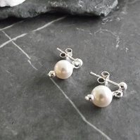 White Swarovski pearl earrings