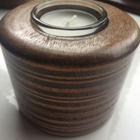 Striped wooden candle holder