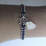 Nautical friendship bracelet. Sea glass jewellery