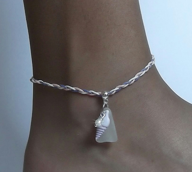 Sea glass anklet. Lavender shell ankle bracelet. Sea glass jewellery.