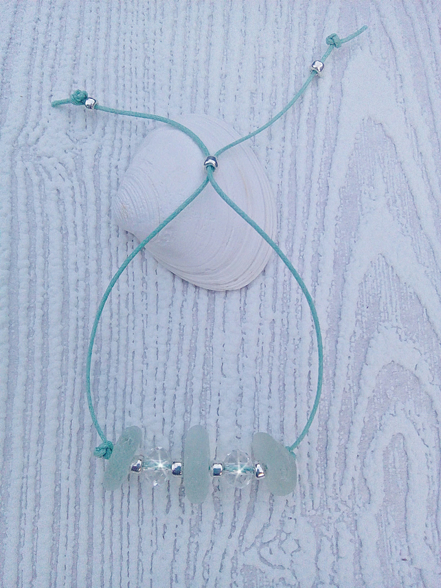 Sea glass friendship bracelet